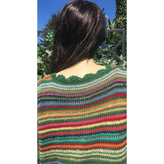 Gilet tricot multicolore tricot main laine coton belles mati res - Tricot a la main ...