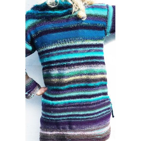 Veste tricot à volant en laine soie et mohair avec écharpe tricot fait main