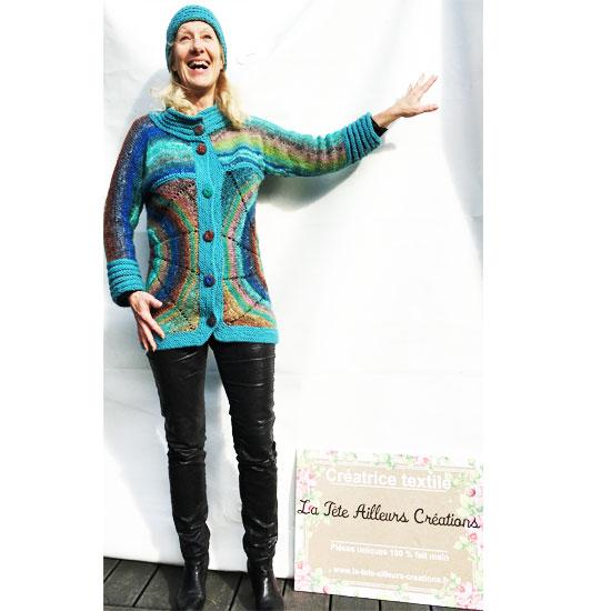 Veste noro tricot circulaire soie mohair et laine fait main