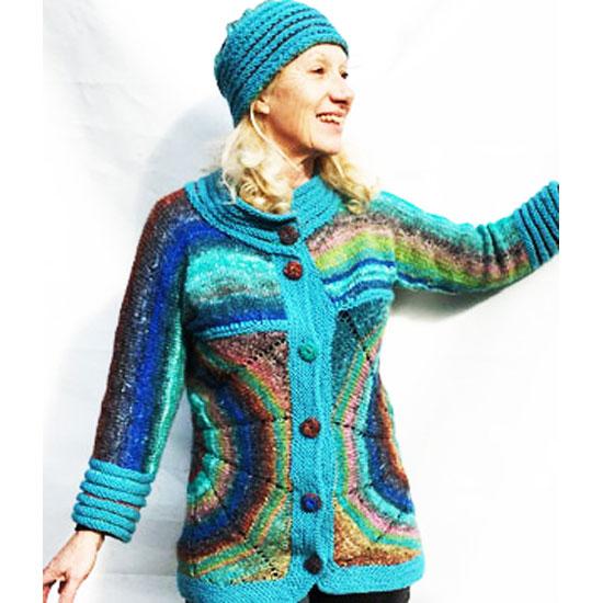 Veste noro tricot main soie laine et mohair laine noro
