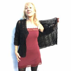 Veste Yak Angora Crochet Fourche Main