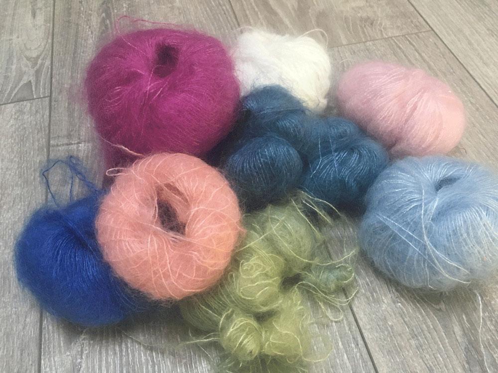 Présentation laine et tricot Angora