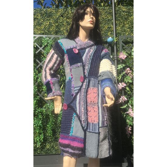 411ea8d13ff99 Manteau laine tricot main artistique, manteau de créateur en laine tricoté  à la main,