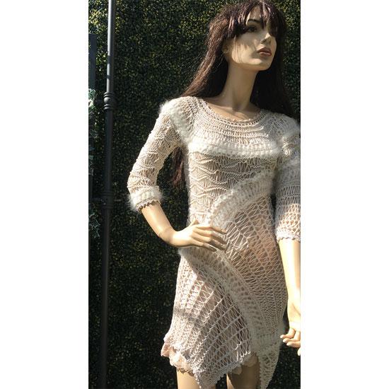Robe tricot art angora tricot et crochet d'art fait main