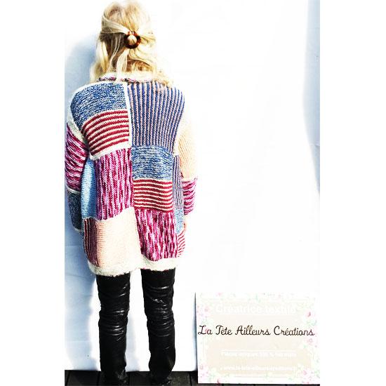 Veste patchwork tricot main laine