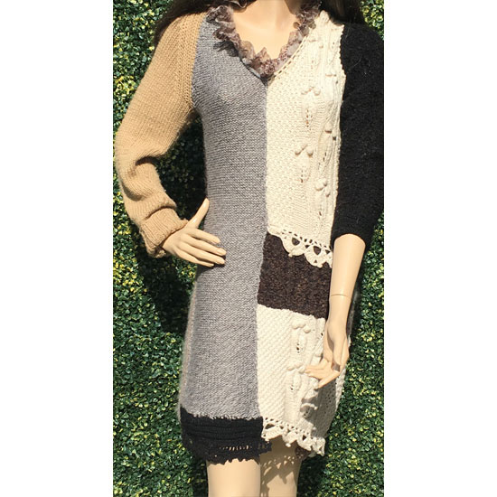 robe tricot main patchwork